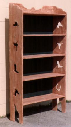5 Shelf Western Pine Bookshelf With Cutouts